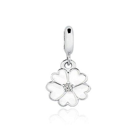 Berloque de Prata Flor Branca com Zircônia