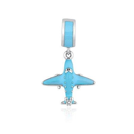 Berloque de Prata Avião Azul