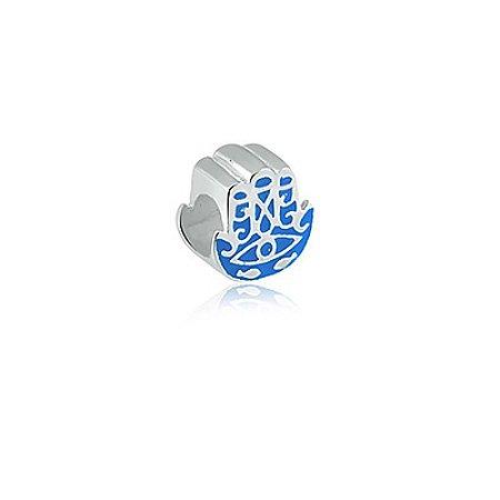 Berloque de Prata Mão de Fátima Azul
