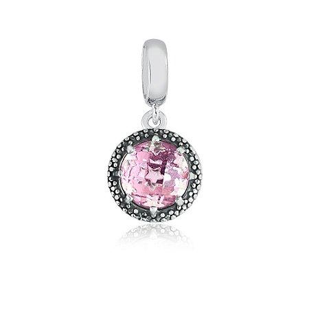 Berloque de Prata Pingente Radiante Rosa