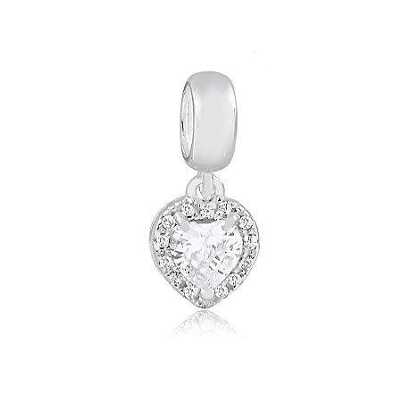 Berloque de Prata Pingente Coração Radiante Cristal