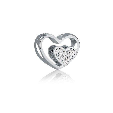 Berloque de Prata Separador Coração Duplo