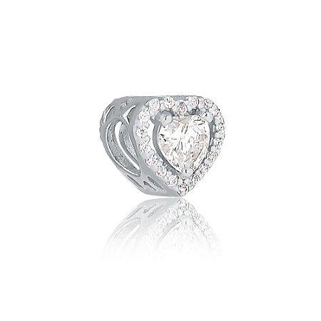 Berloque de Prata Coração Radiante Cristal
