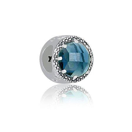 Berloque de Prata Separador Radiante Azul