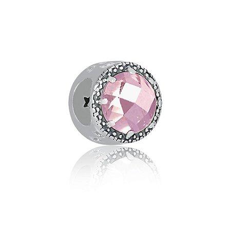 Berloque de Prata Separador Radiante Rosa