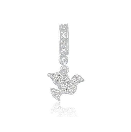 Berloque de Prata Pingente Pomba com Zircônias Cristal