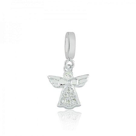 Berloque de Prata Anjo com Zircônias