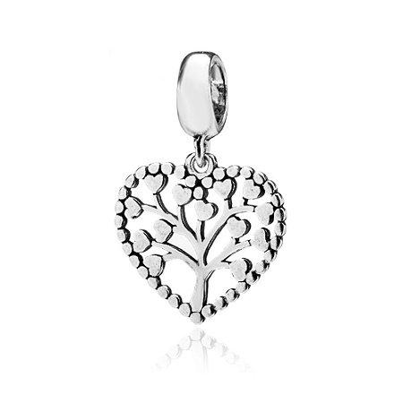 Berloque de Prata Coração Árvore da Vida