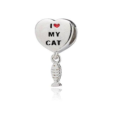 Berloque de Prata Coração I Love My Cat