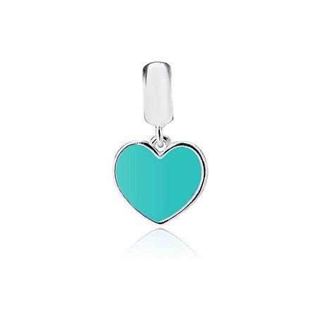 Berloque de Prata Pingente Coração Azul Turquesa