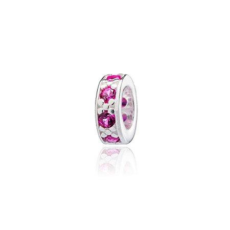 Berloque de Prata Separador Mini com Zircônias Rosa