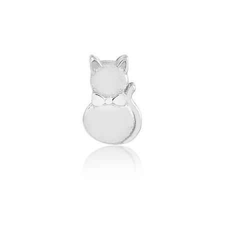 Mini Locket de Prata Gato