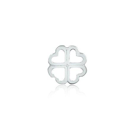 Mini Locket de Prata Trevo de 4 Folhas