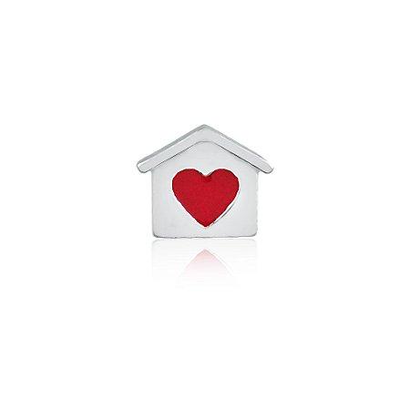 Mini Locket de Prata Casinha Coração