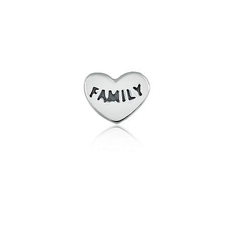 Mini Locket de Prata Coração Família