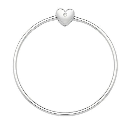 Bracelete Berloque Rígido de Prata Coração