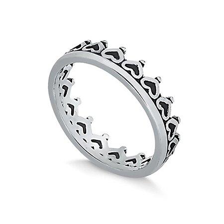 Anel de Prata Coroa Corações