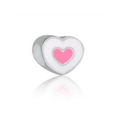 Berloque de Prata Separador Coração Rosa e Branco