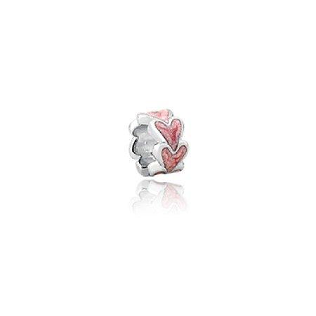 Berloque de Prata Separador Mini Corações Rosa
