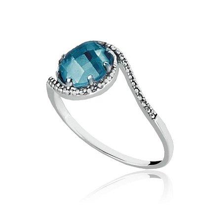 Anel de Prata Radiante Azul