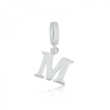 Berloque de Prata Letra M com Zircônia
