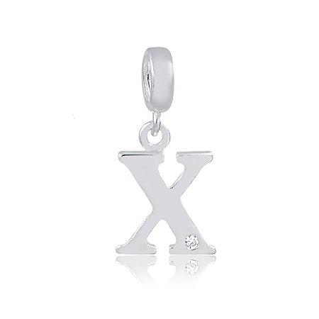 Berloque de Prata Letra X com Zircônia