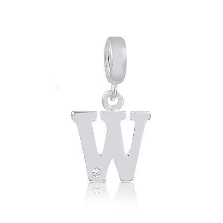 Berloque de Prata Letra W com Zircônia