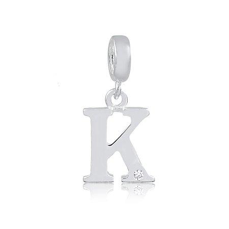 Berloque de Prata Letra K com Zircônia
