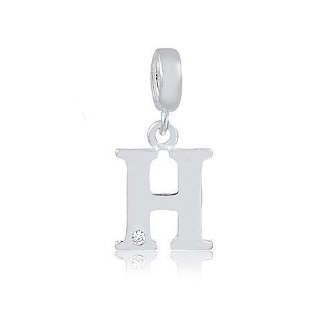 Berloque de Prata Letra H com Zircônia