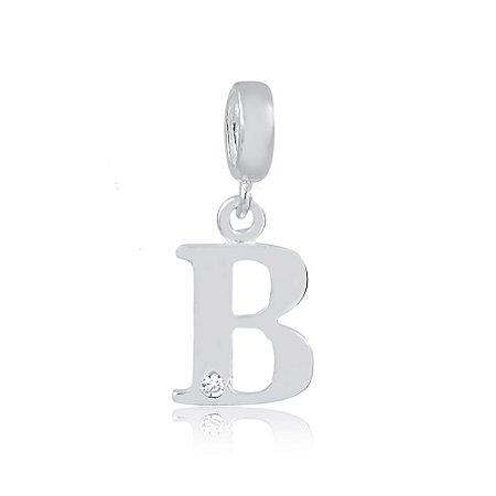 Berloque de Prata Letra B com Zircônia