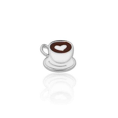 Mini Locket de Prata Xícara de Café