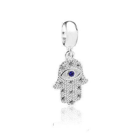 Berloque de Prata Mão de Fátima com Zircônia Azul