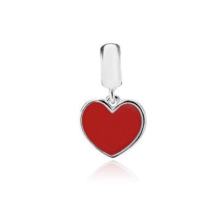 Berloque de Prata Pingente Coração Vermelho