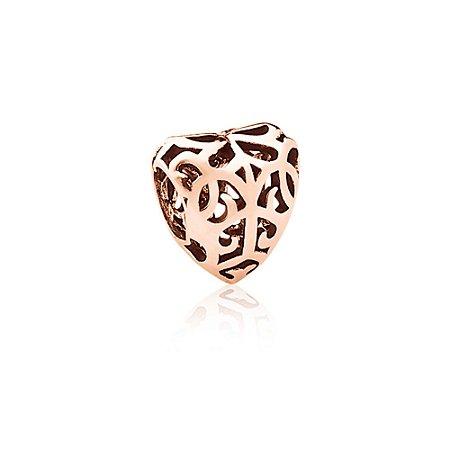 Berloque Rosé Coração Arabescos