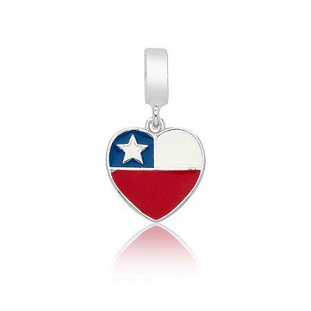 Berloque de Prata Bandeira do Chile