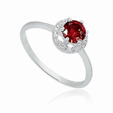 Anel de Prata Solitário Brilhante com Zircônia Vermelho Rubi