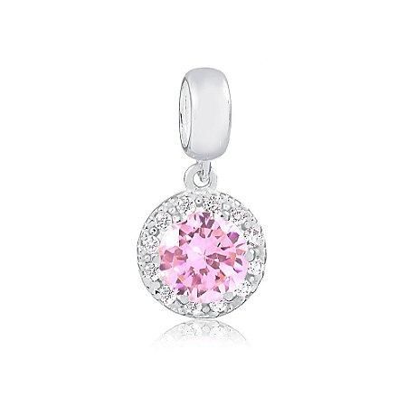 Berloque de Prata Pingente Brilhante Rosa