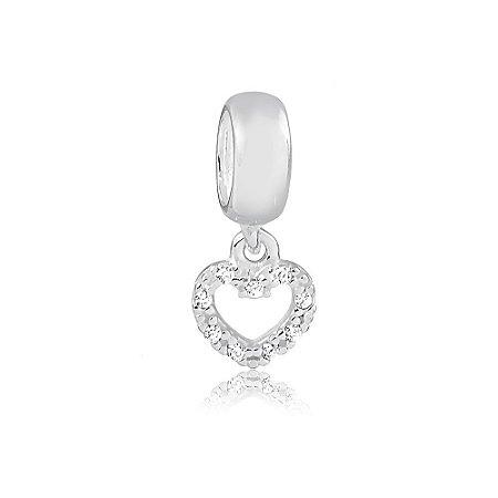 Berloque de Prata Mini Coração com Zircônias