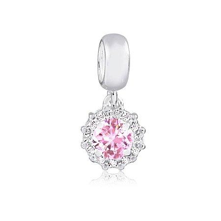 Berloque de Prata Ponto de Luz Radiante Rosa