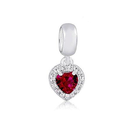 Berloque de Prata Pingente Coração Radiante Vermelho Rubi