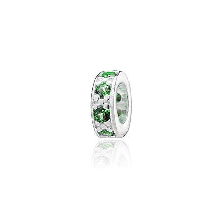 Berloque de Prata Separador Mini com Zircônias Verde