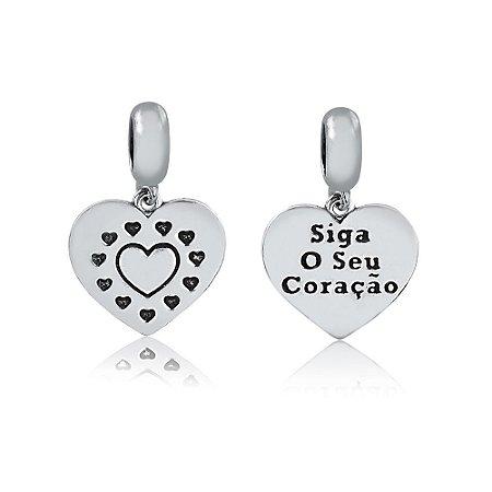 Berloque de Prata Siga o Seu Coração