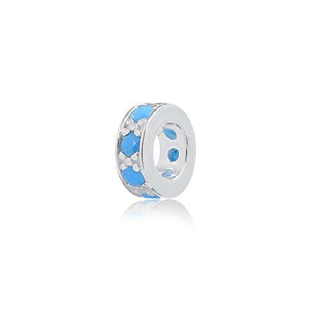 Berloque de Prata Separador Mini com Zircônias Azul Claro