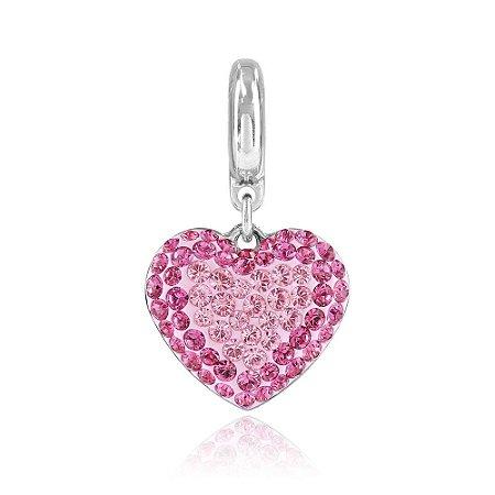 Berloque Swarovski Pingente Coração Rosa Pavê