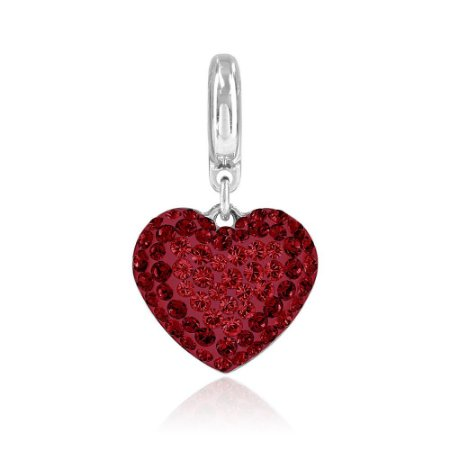Berloque Swarovski Pingente Coração Vermelho Pavê
