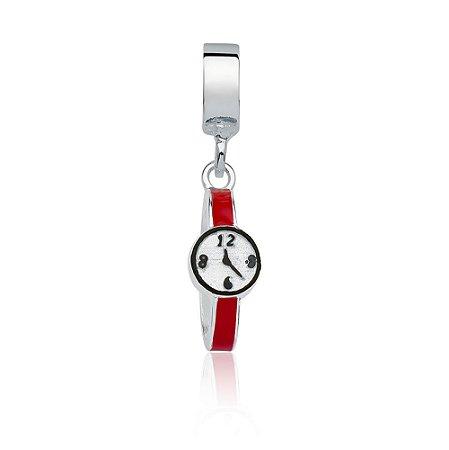 Berloque de Prata Relógio Vermelho