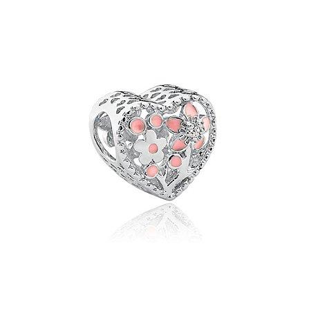 Berloque de Prata Coração Flores com Zircônia