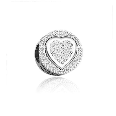 Berloque de Prata Separador Coração Cravejado com Zircônias