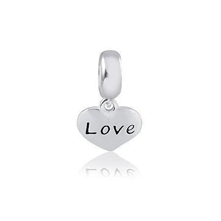 Berloque de Prata Pingente Coração Love