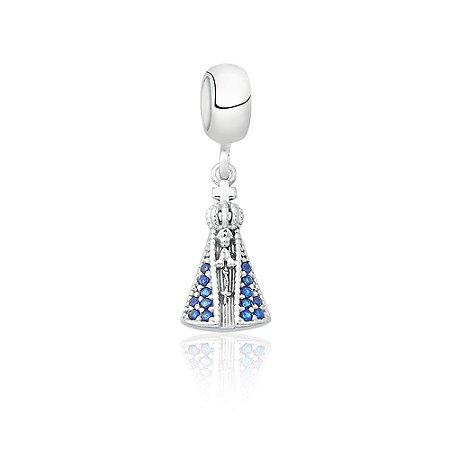 Berloque de Prata Nossa Senhora com Zircônias Azul